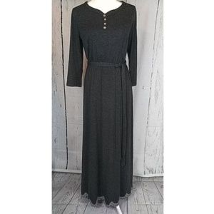 Charcoal Gray Scallop Trim Maxi Dress NWT Boutiqu